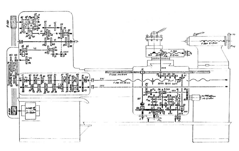 Кинематическая схема токарно-винторезного станка 163.